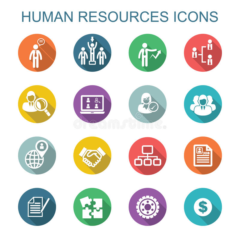 Free Human Resources Long Shadow Icons Stock Photos - 46940313