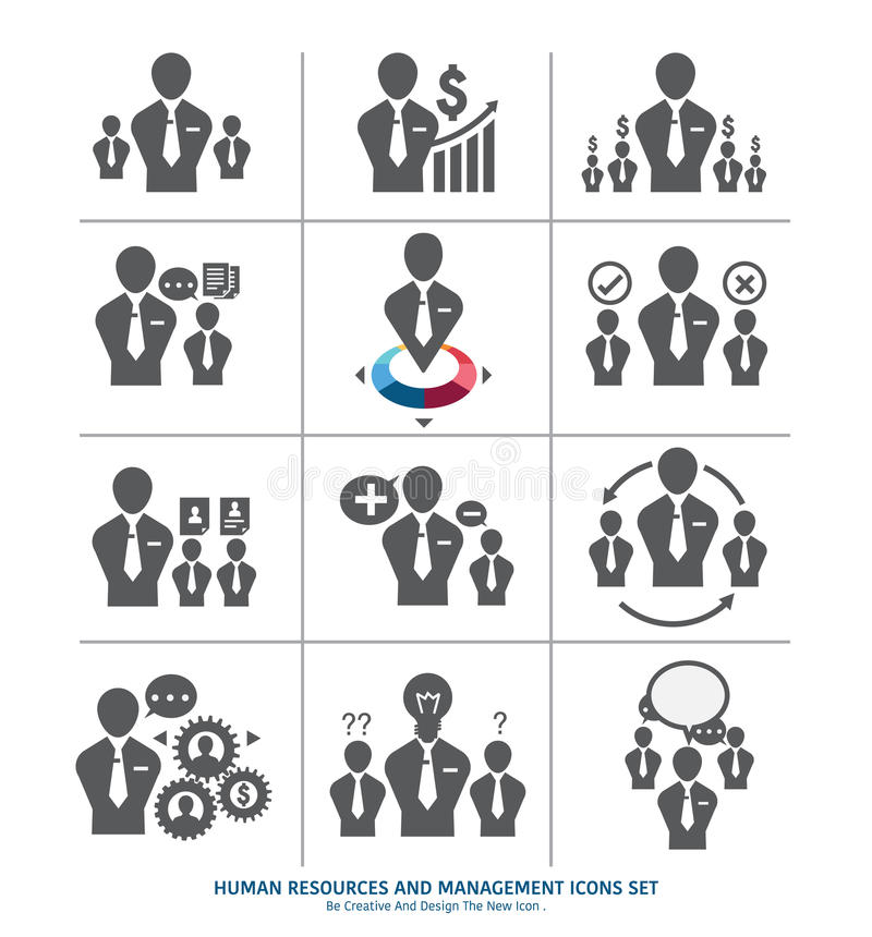 Human resources and management icons set royalty free illustration