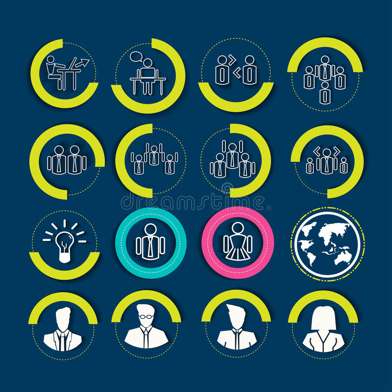 Human resources and management icons set. Vector illustrations vector illustration