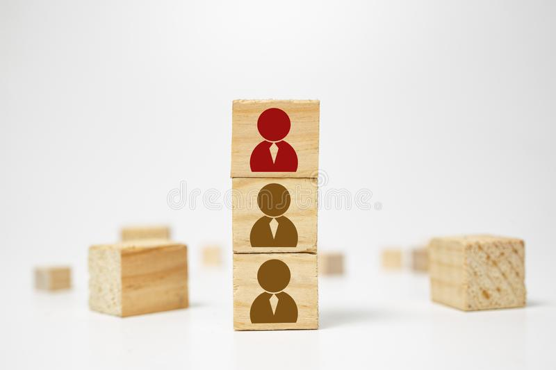 Human resources management and recruitment business build team concept. Wooden cube block on top with human icon. Division assessment banner building capital royalty free stock image