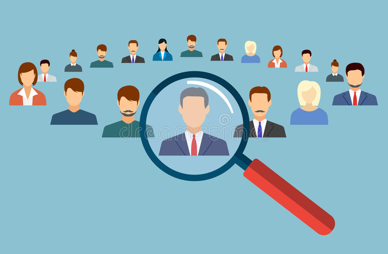 Human resources management select employee stock illustration