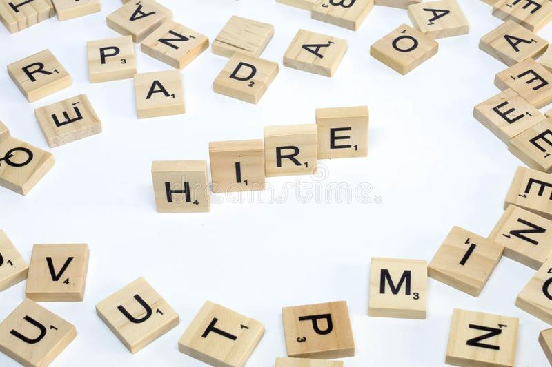 Human resources management term wooden abc hire stock images