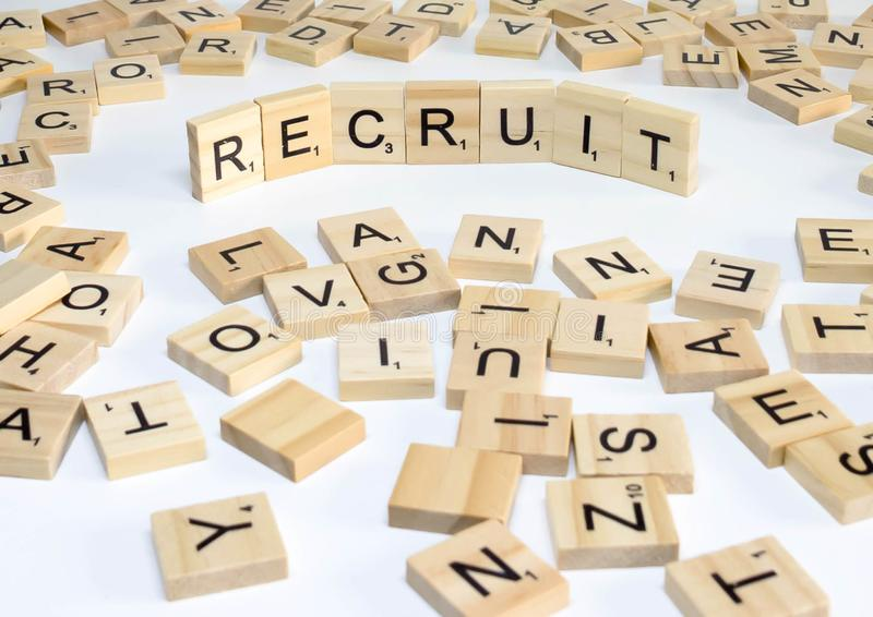 Human resources management term wooden abc recruit stock photography