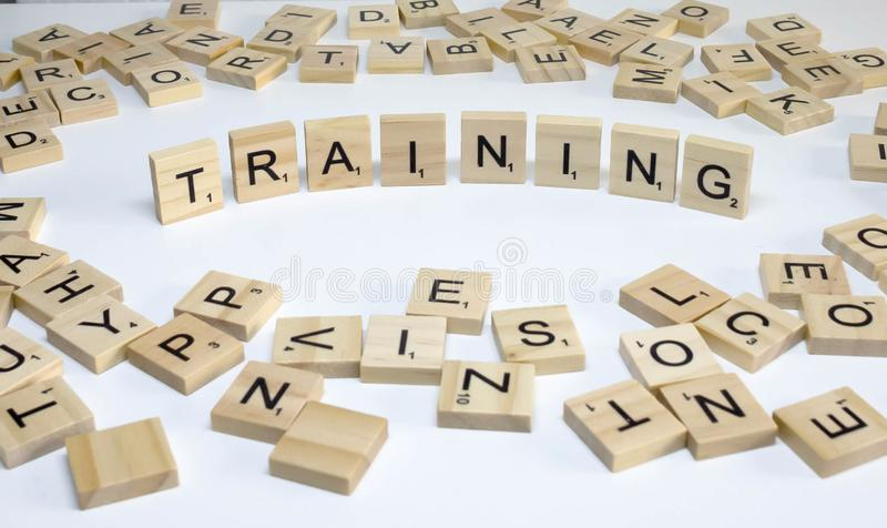 Human resources management term wooden abc training stock photo
