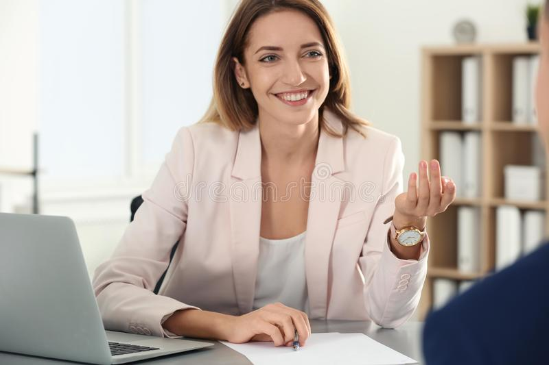 Human resources manager conducting job interview with applicant. In office royalty free stock image