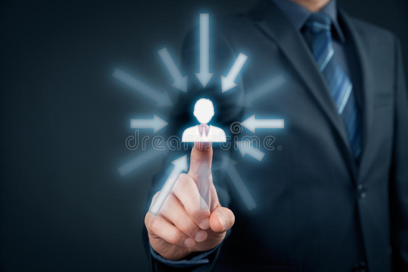 Human resources. Officer choose employee or team leader. Individual marketing and personalization concept royalty free stock photography