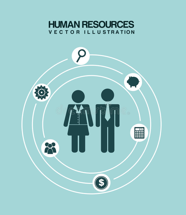 Human resources. Over blue background vector illustration royalty free illustration