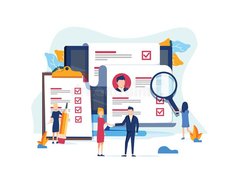 Human Resources, Recruitment Concept for web page, banner presentation, social media, documents cards and posters. royalty free illustration