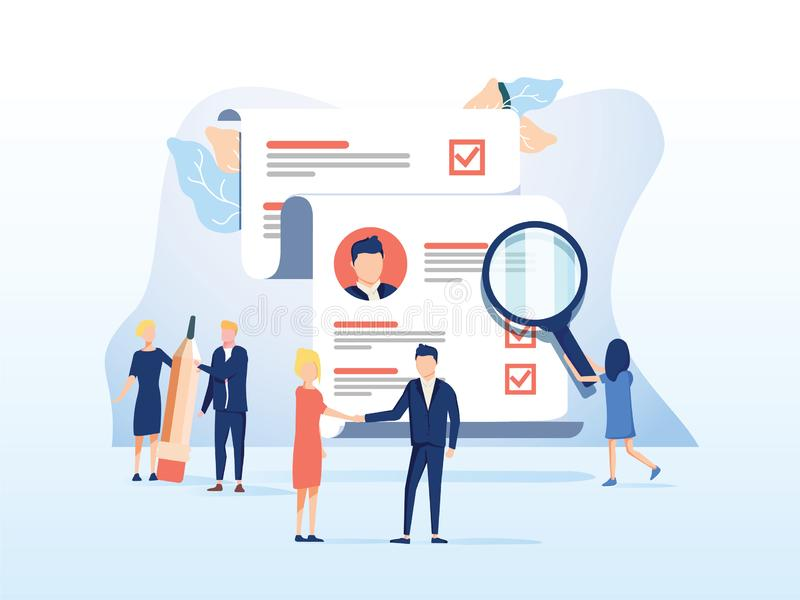 Human Resources, Recruitment Concept for web page, social media. Vector illustration people select a resume for a job. People fill out the form, hiring stock illustration