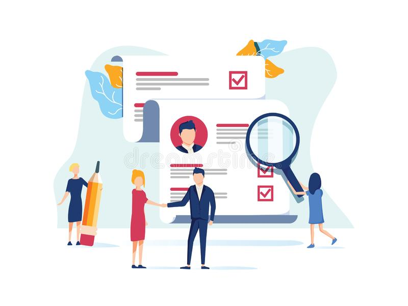 Human Resources, Recruitment Concept for web page, social media. Vector illustration people select a resume for a job stock illustration