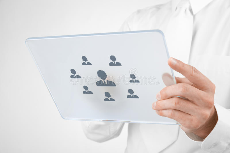 Human resources recruitment. Human resources, personal audit, CRM, and assessment center concept - recruiter select employee (or team leader) represented by icon stock images