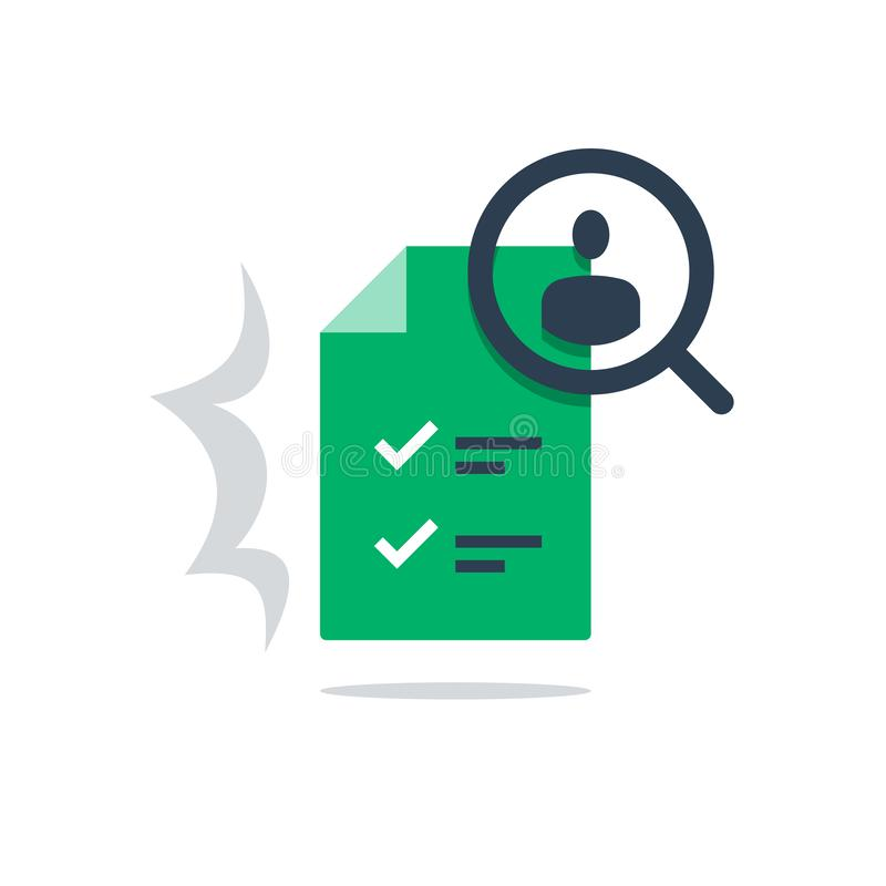 Human resources, recruitment service, fill vacancy, employment concept, application form review. Human resources, recruitment service, choose candidate, fill royalty free illustration