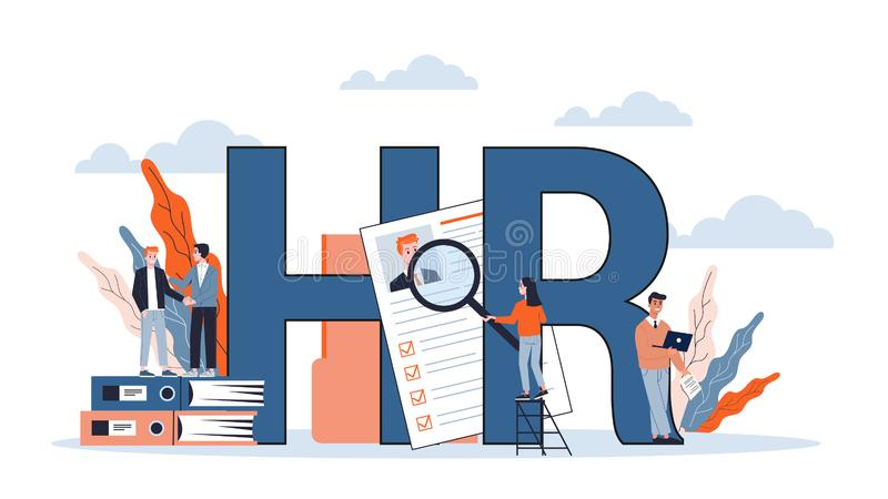 Human resources and recruitment web banner concept. royalty free illustration