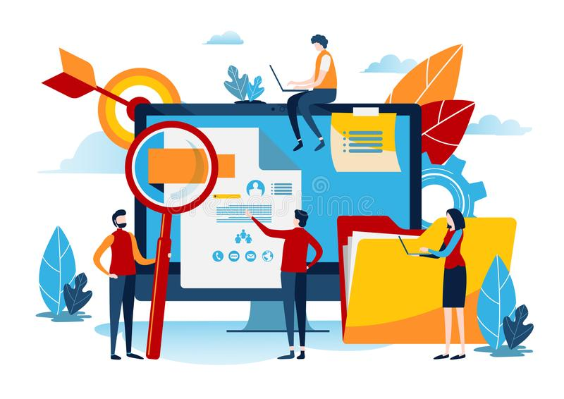 Human resources requirements. Management concept. Miniature people. Business illustration vector graphic royalty free illustration