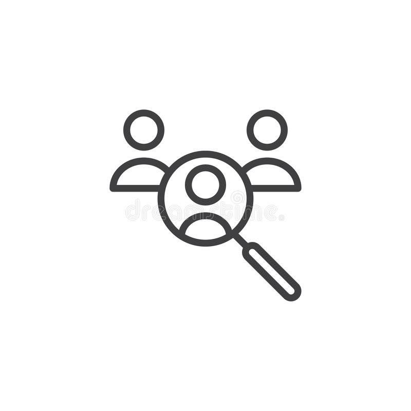 Human resources search outline icon stock illustration