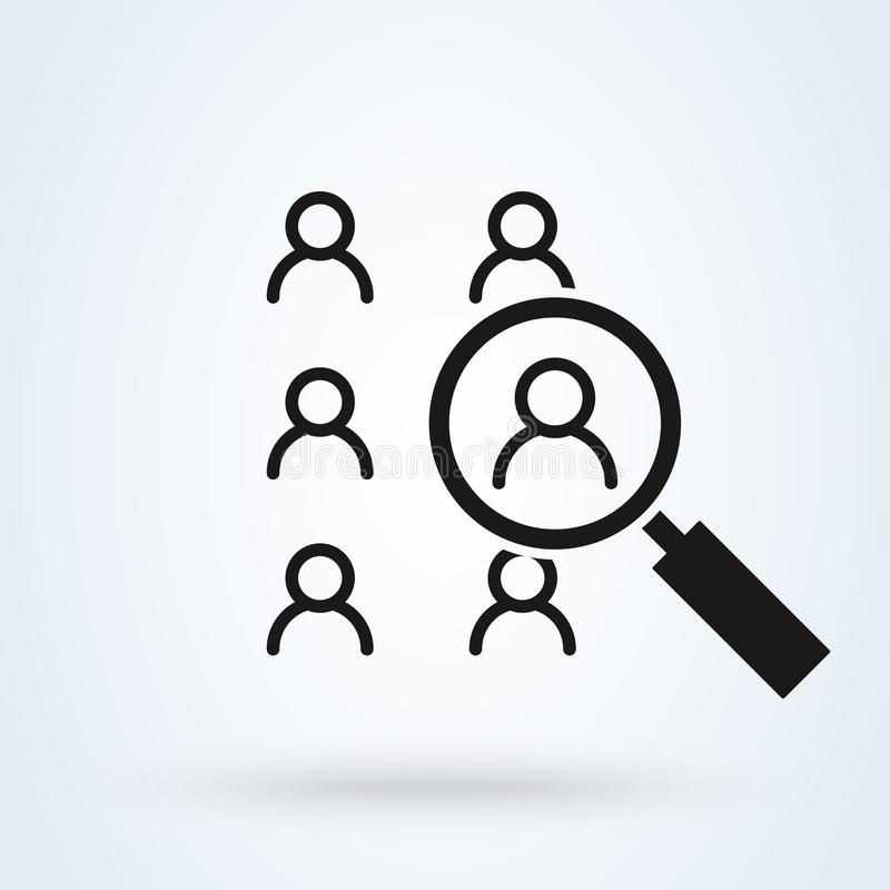 Human resources search thin line isolated flat vector icon royalty free illustration