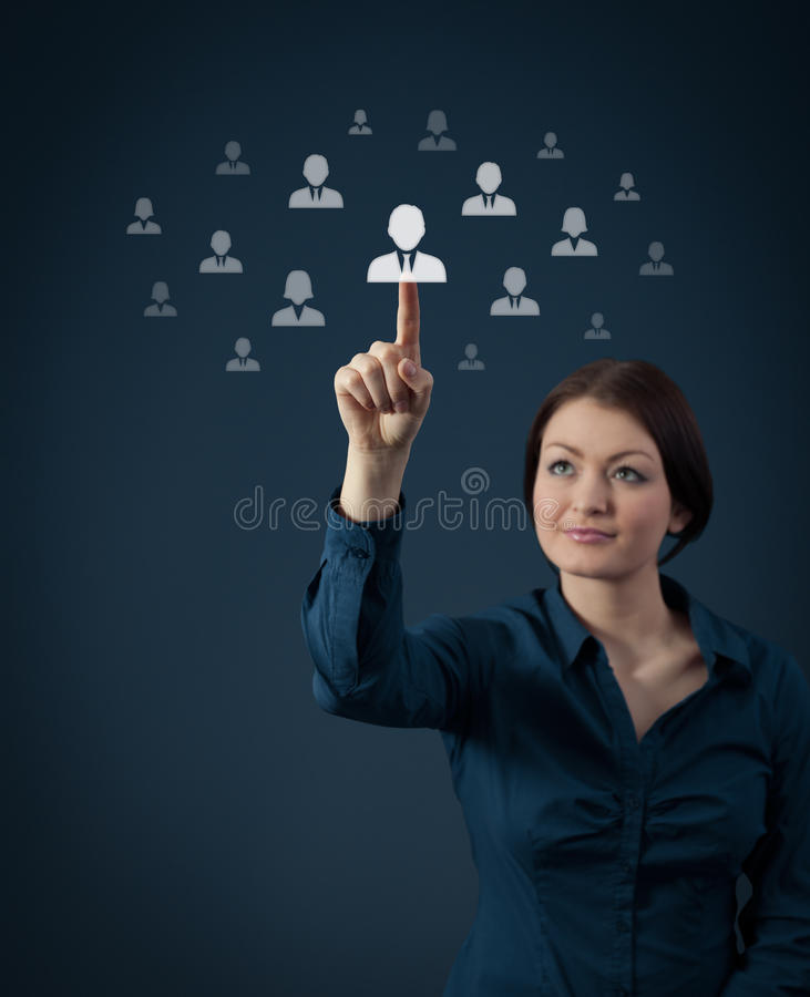 Human resources. And social networking concept - female officer recruiter select new employee royalty free stock images