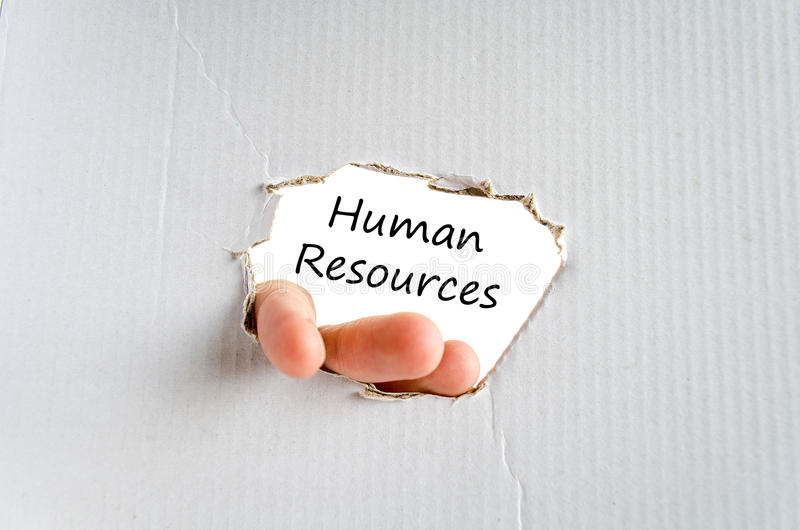 Human resources text concept. Business man hand writing human resources royalty free stock image