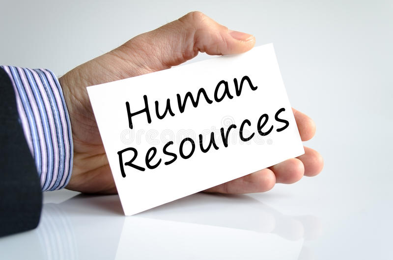 Human resources text concept. Business man hand writing human resources stock images