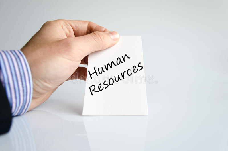 Human resources text concept. Business man hand writing human resources royalty free stock photo