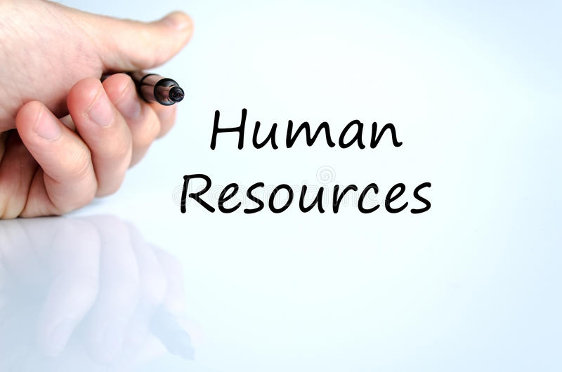Human resources text concept. Business man hand writing human resources stock image