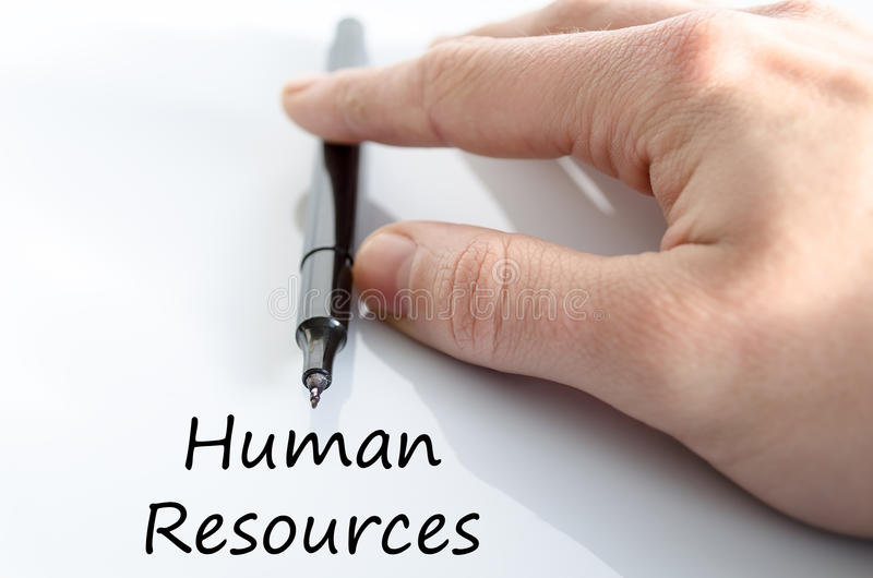 Human resources text concept. Business man hand writing human resources stock photo