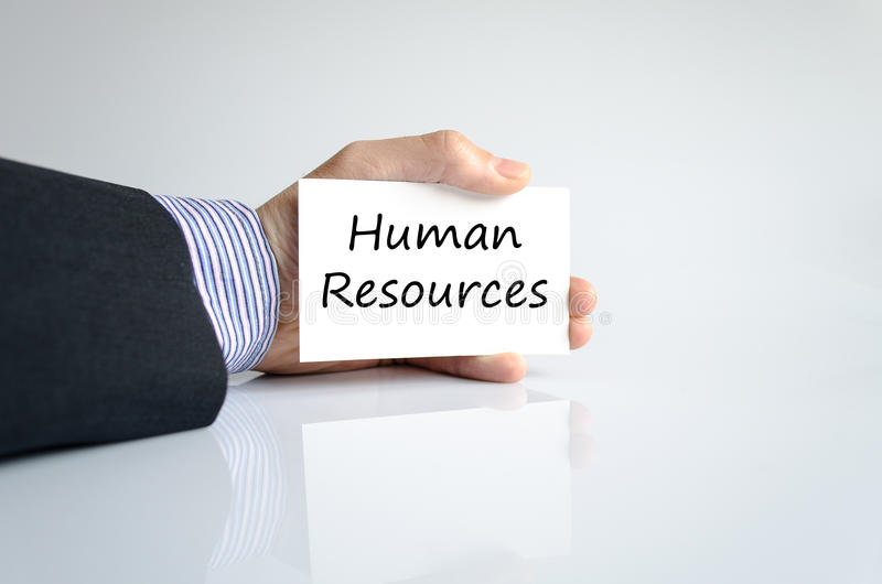 Human resources text concept. Business man hand writing human resources royalty free stock images