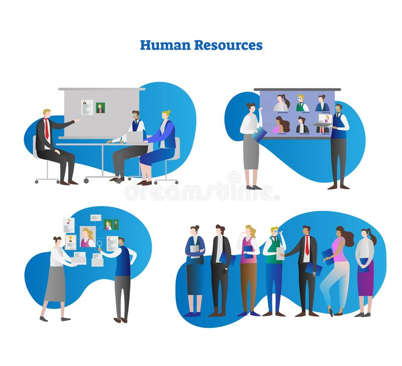 Human resources vector illustration collection set. Searching for professional employee or job candidate from interview and CV. royalty free illustration
