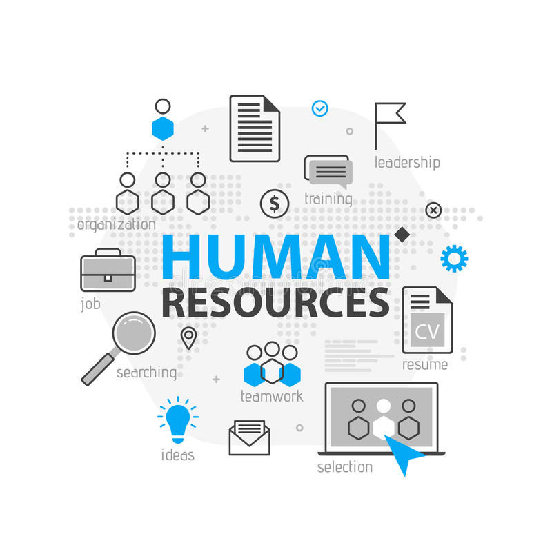 Human resources web banner concept. Outline line business icon set. HR Strategy team, teamwork and corporate organization i stock illustration