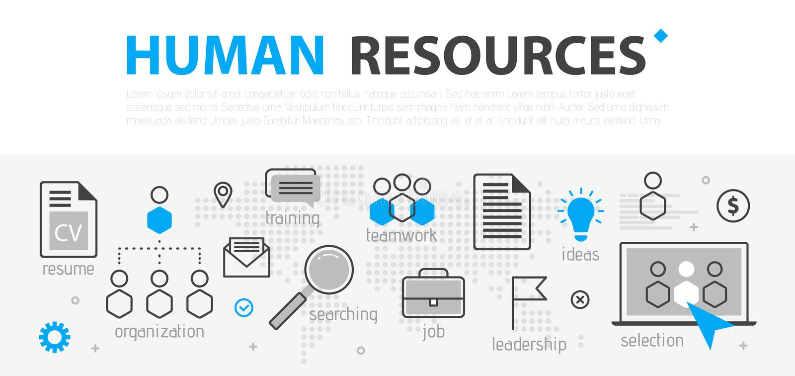 Human resources web banner concept. Outline line business icon set. HR Strategy team, teamwork and corporate organization i royalty free illustration