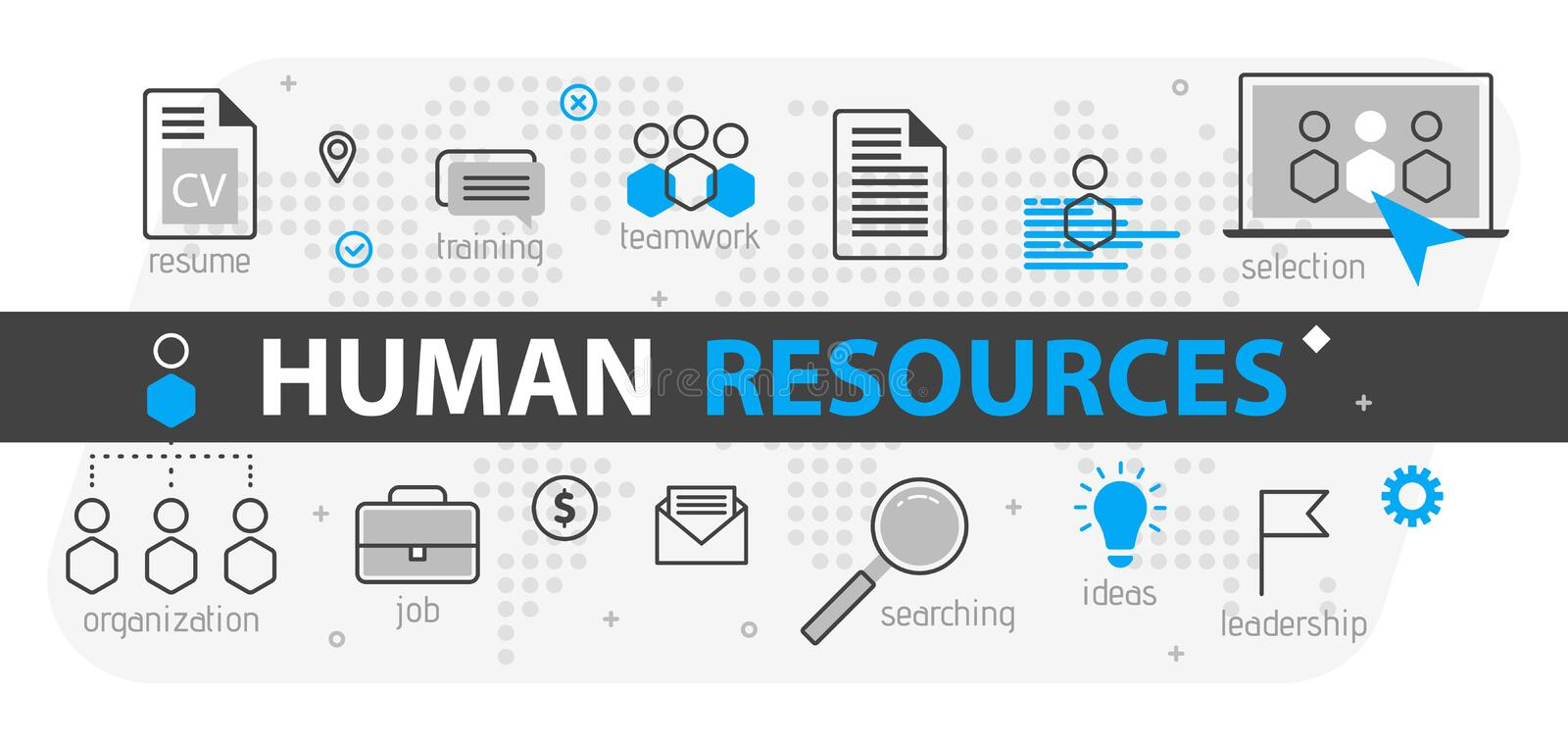Human resources web banner concept. Outline line business icon set. HR Strategy team, teamwork and corporate organization i. Human resources web banner concept vector illustration