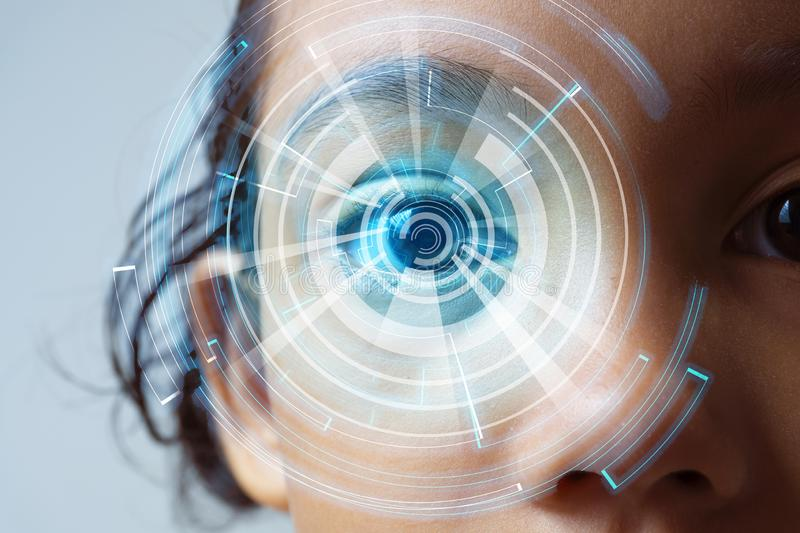 Human with retina security technology. Eye recognation technology concept vector illustration