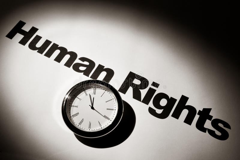 Human Rights. Clock and word of Human Rights for background royalty free stock images