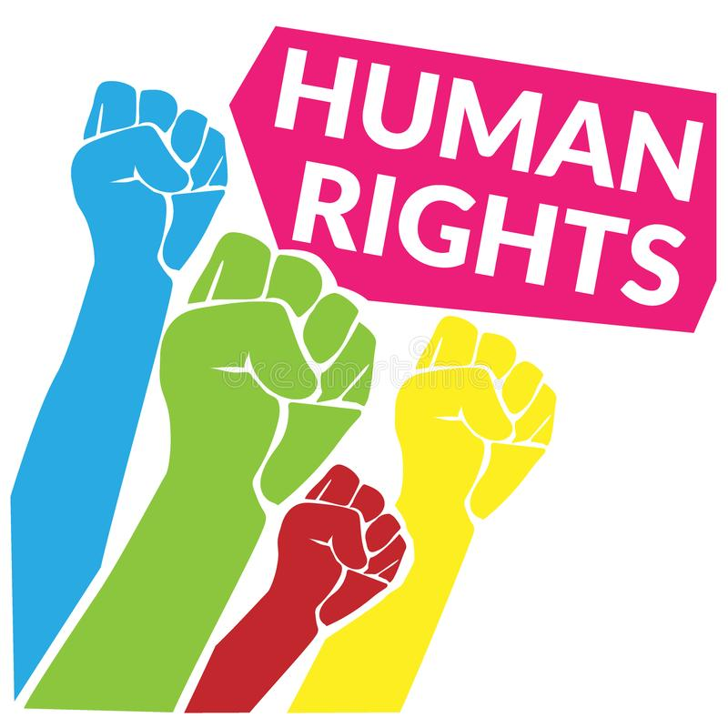 Human Rights concept. colorful of human fist hand raise up to the sky with quotes tag Human Rights. vector illustration royalty free illustration