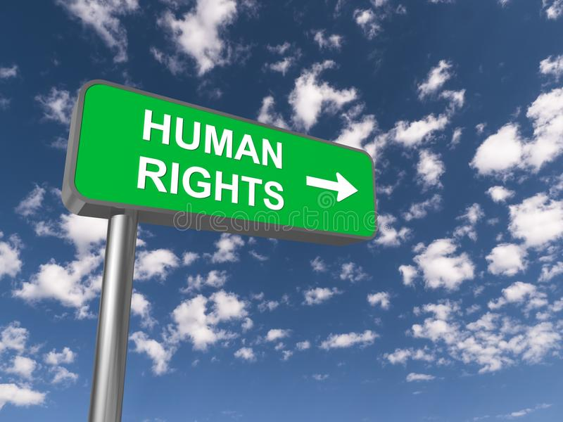 Human rights. On green traffic sign with directional arrow against blue skies and clouds royalty free stock images