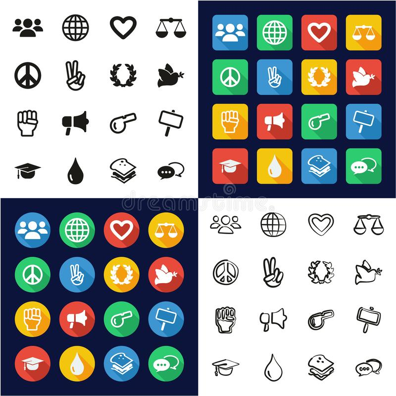 Human Rights Icons All in One Icons Black vector illustration