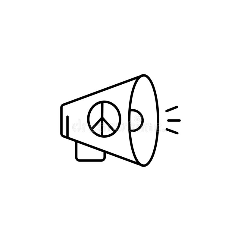 human rights, megaphone, loud, speaker, peace line icon. Elements of protests illustration icons. Signs, symbols can be used for vector illustration