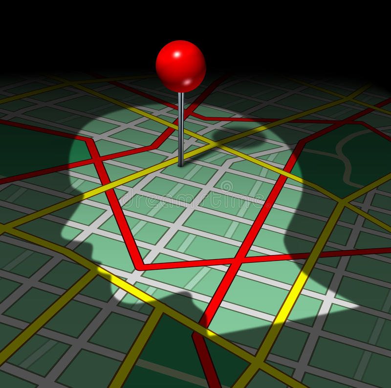 Human Road Map. And life direction concept as a shadow of a persons face or head cast on graphics of streets and highways with a red pin as a success metaphor royalty free illustration