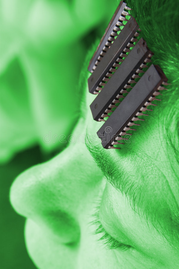 Human robot - Artificial intelligence. Computer chip brain in human. Artificial intelligence in micro chips. AlienTechnology concept stock photo