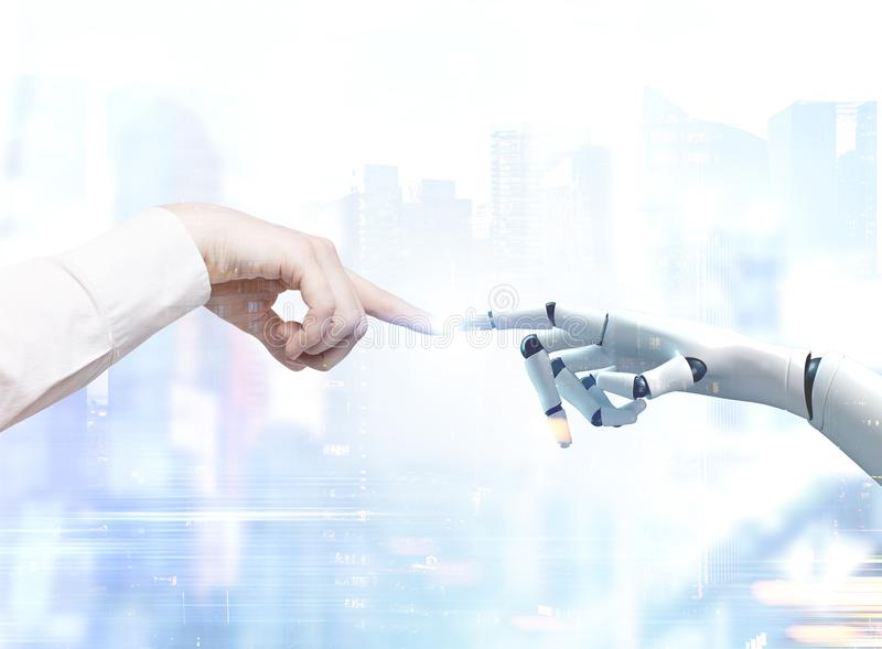 Human and robot hands reaching out, blurred city. Human and robot hands reaching out and touching with index fingers. A blurred cityscape background. Toned image royalty free stock photos