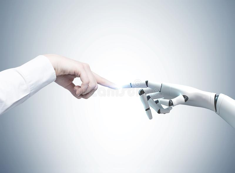Human and robot hands reaching out, gray. Human and robot hands reaching out and touching with index fingers. A gray background. Concept of hi tech stock photo