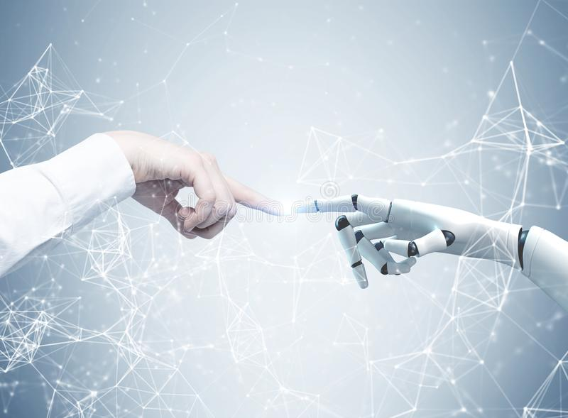Human and robot hands reaching out, network. Human and robot hands reaching out and touching with index fingers. A gray background with a network hologram stock photos