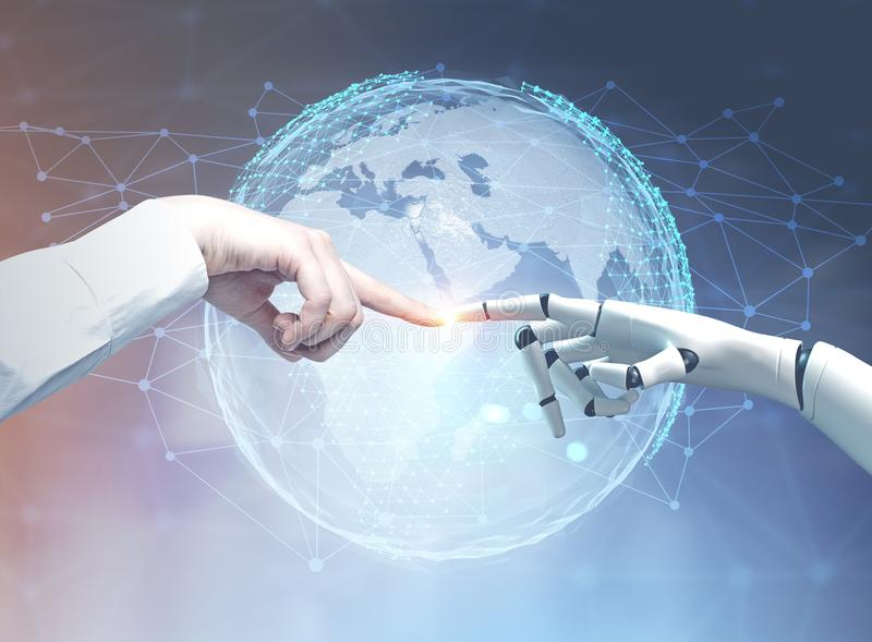 Human and robot hands reaching out, planet. Human and robot hands reaching out and touching with index fingers. A planet and a network hologram background. Toned stock image