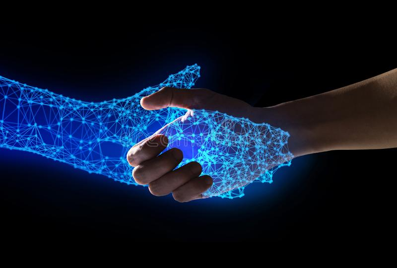 Human and robot handshake with empty space on blue background, artificial intelligence, AI, in futuristic digital technology and royalty free illustration