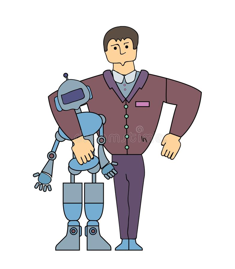 Human-Robot Interaction. Strong man making friends with a robot. Cartoon characters. Simple line vector illustration royalty free illustration