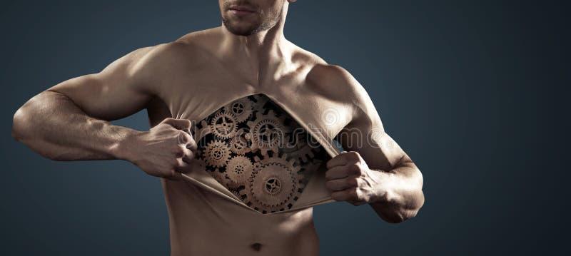 Human robot pulling his chest skin away. Human robot pulling his thick chest skin away stock photos
