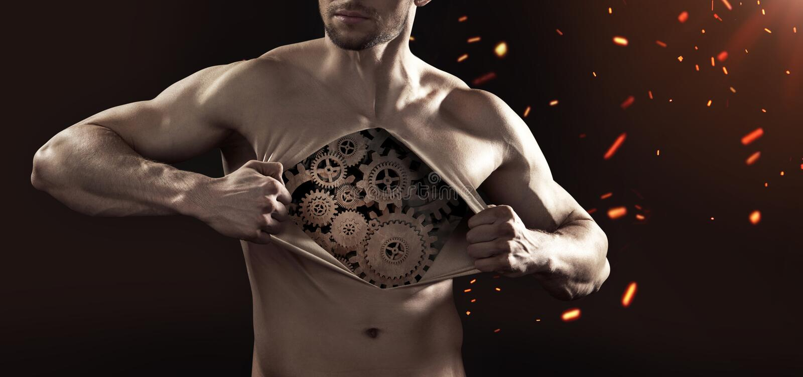 Human robot tearing up his chest skin. Human robot tearing up his thick chest skin royalty free stock images