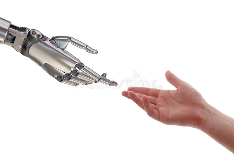 Human and Robot Touching 3d Illustration Isolated on White Background royalty free illustration