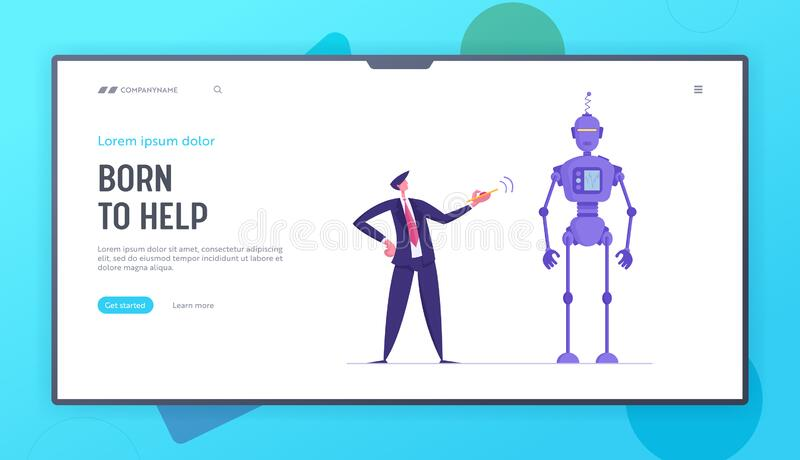 Human and Robot Website Landing Page. Businessman Push Red Button on Remote Control to Make Huge Robot Moving. Cyborg Automation, Future Technologies Web Page stock illustration