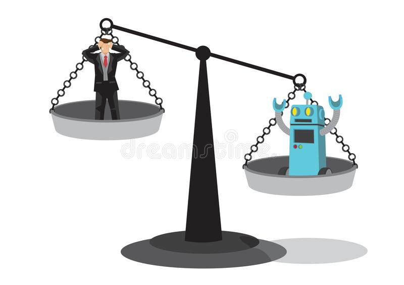 Human and robot on the weighting scale. Depicts automation, future job market and artificial intelligence bringing danger to royalty free illustration